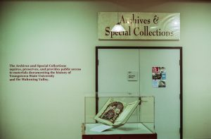 An image of the entry to Archives and Special Collections on the 5th floor of Maag Library
